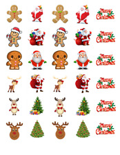 30 Christmas Mixed Edible Stand Up Wafer Cake Wafers Cupcake Toppers