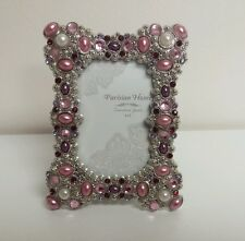 """Pink Red Crystal Pearl Stones Gems Jeweled  2"""" x 3"""" Photo Picture Frame"""
