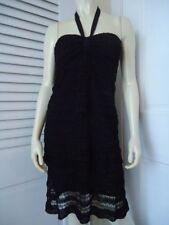 BEBE Sz S Dress Halter Strapless Choice Black Crochet Knit Tier Lace Lined SEXY!