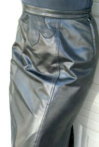 LONG   BLACK LEATHER  SKIRT -  fits size 6