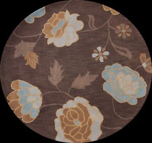 Brown Traditional Floral Oriental Area Rug Hand-Tufted Wool 5x5 ft Round Carpet