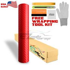 "*48""x60"" 4D Gloss Red Carbon Fiber Vinyl Wrap Sticker Bubble Free Air Release"
