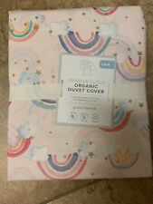 POTTERY BARN KIDS Organic Rainbow Cloud TWIN Duvet Cover - NEW Pink
