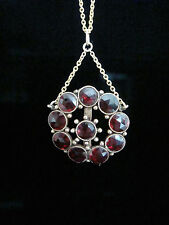 EDWARDIAN 9CT AND 18CT GARNET NECKLACE LAVALIERE