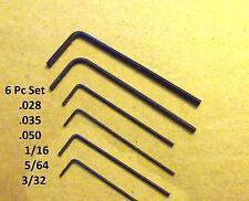 Hex Allen Wrench Short Arm Set-.028, .035, .050, 1/16, 5/64, 3/32 Free Ship!!