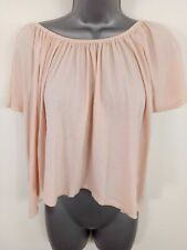 WOMENS MANGO GYPSY TOP OFF SHOULDER LIGHT PINK SHORT T-SHIRT SHORT SLEEVE M