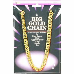 """Disco Chain Necklace Gold Or Silver Heavy Metal 46"""" Costume Chain"""