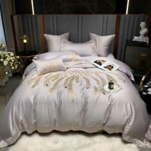 bedding set 4pcs 140S Pima cotton embroidery quilt cover flat sheet pillowshames