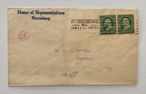 1902 1c Green Pair House of Representatives Harrisburg PA to Carlisle PA