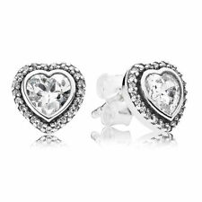 Authentic Pandora Earrings Sparkling Love Heart Stud 290568CZ W Tag & Suede Pouc