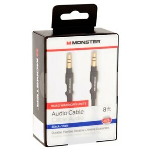 Monster® Premium Audio Aux Cable 3.5mm Male to Male Stereo Jack Black 8ft - 2.4m