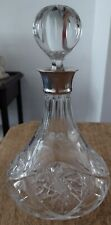 H.M Sterling Silver Collar Cut Glass Crystal Spirit Ship's Style Decanter 1986