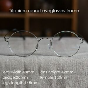 Retro Titanium Round eyeglasses Steve Jobs glasses mens silver frame RX eyewear
