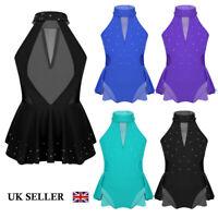 UK Girls Ballet Jazz Dance Dress Kids Sparkle Skirted Leotards Gym Skate Costume