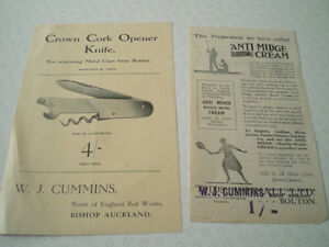 2X VINTAGE W J CUMMINS ADVERTISING LEAFLETS/FLYERS