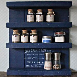 Holz Gewürzregal hängend stehend Blau mit Schrift weiß Vintage Shabby
