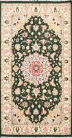 Floral Traditional Vegetable Dye Green Hand-knotted Oriental Area Rug Wool 3x5