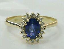 Anello Principessa  oro giallo 18 kt con diamanti e  zaffiro  naturale
