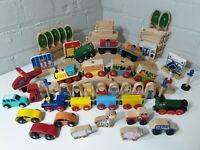 Large Wooden Train Set Huge Bundle fits Brio / ELC Thomas bigjigs 80+ pieces