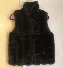 Atelier by B.Thomas Fake Faux Fur Black Vest Size M