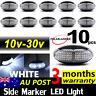 10 X 10V-30V WHITE CLEARANCE LIGHTS SIDE MARKER LED TRAILER TRUCK LORRY LAMP