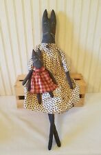 New listing Primitive Grungy Tall Black Kitty Cat Doll & Her Kitten