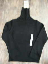 Ladies Cherokee Chunky Knit Black Polo Neck Roll Neck Jumper Sweater Size 8 NEW