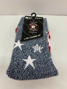 Houston Astros MLB Men Pkwy Horizon Crew Socks Gray/White/Red Size M
