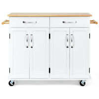 Kitchen Trolley Cart Rolling Utility Island Wood Top Storage Cabinet Home White