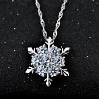 Crystal Women Frozen New Plated Rhinestone Snowflake Pendant Necklace