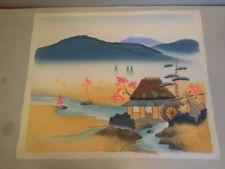Vintage Oriental Japanese Silk Screen Wood Block Print Signed + FREE SHIPPING