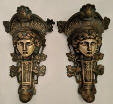 Fabulous Pair (2) Antique Metal Female Architectural Salvage Art Statue Figural