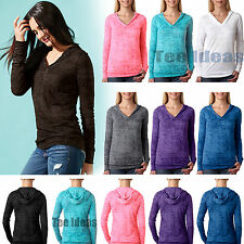 Next Level Women's Burnout Long Sleeve Hoodie T-Shirt S-2XL Hooded Pullover 6521