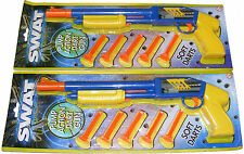2 x CHILDRENS PLASTIC TOY PUMP ACTION SHOT GUN DART RIFLE WITH 10 DARTS - NEW