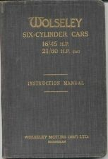 Wolseley 16/45hp & 21/60hp 6 Cyl 1928-31 Original Manual del titular de la Tapa Dura UK
