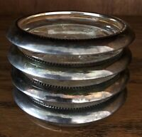 VINTAGE LEONARD CRYSTAL GLASS COASTERS WITH SILVER PLATE RIM-MADE IN ITALY SET/4