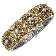 Gerochristo 6077 ~ Solid Gold,Sterling Silver & Pearls Byzantine Bangle Bracelet