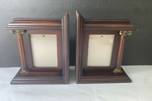 """BOMBAY Company Set Of 2 Wooden Bookends 3.5"""" X 5"""" Picture Frame Pillars"""