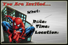 Spiderman Party Invitations with matching envelopes, birthday, 12pack