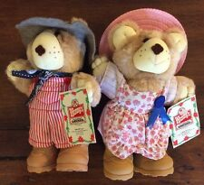 "Vintage 1986 Dudley & Hattie Furskins Bears Wendy's Promo 7"" Plush Toy w/tag"
