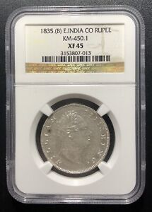 India (British) 1835 B Rupee Silver Coin:  WILLIAM IV NGC XF45