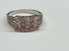 Gorgeous Fashion Sterling Silver 925 Pink Stone Ring Size 10.5