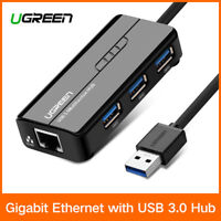 Ugreen Réseau Adaptateur 3 Ports USB 3.0 Hub vers RJ45 Gigabit Ethernet 1000Mbps