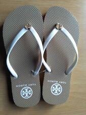 Tory Burch Thin Enamel Printed Flip Flops Sandal Thong Reva Flat sz 9 Khaki NEW