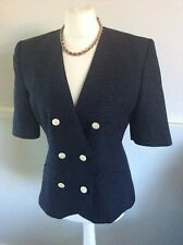 VINTAGE ST MICHAEL M&S NAVY SPOTTED  WOOL BLEND FITTED JACKET UK 12 Stylish