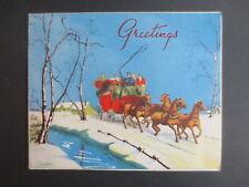 Vintage CHRISTMAS Card 1930s Regency Stagecoach Scene Snowy H Loescher Ltd