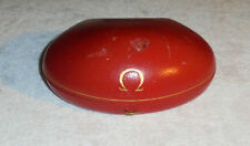 Vintage Omega Leather Clamshell Bracelet Red Velvet Watch Wristwatch Box Case Ω