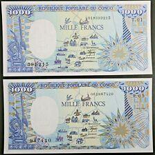 Congo Republic Lot of 2 Notes 1985 & 1987 1000 Francs