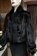 "Black Mink Fur 18"" Short Jacket w/ Fox Tuxedo Trim, sz 6"