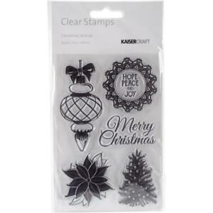 """Kaisercraft Christmas Wishes Clear Stamps 4"""" X 6"""" CS270 Ornament Tree Poinsettia"""